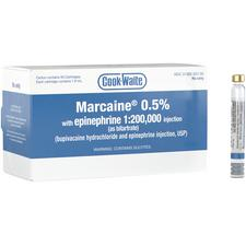 Cook-Waite Marcaine® Bupivacaine HCl 0.5% with Epinephrine 1:200,000 Injection – NDC 00362-0557-05, 1.8 ml Cartridge, 50/Pkg