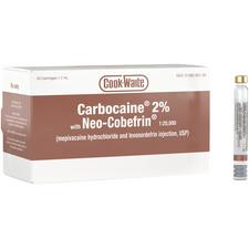 Cook-Waite Carbocaine® 2% with Neo-Cobefrin® 1:20,000 (Mepivacaine and Levonordefrin injection) - 1.7 ml Cartridge, 50/Pkg