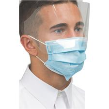 Defend® Pleated Dual-Fit Masks with Shield – Blue, 25/Pkg