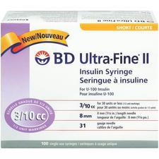 Seringue à insuline BD Ultrafine II – 3/10 cm³, 8 mm, calibre 31, 100/emballage
