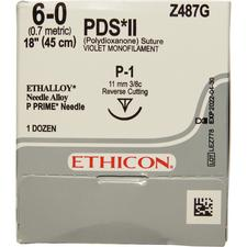 "Absorbable Ethicon Sutures Violet Monofilament PDS II P-1 Reverse Cutting 3/8 Circle, Size 6-0, Length 18"", 12/Box"