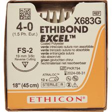 "ETHIBOND EXCEL™ Polyester Sutures – Nonabsorbable, Green Braided, FS-2, 18"",12/Pkg"