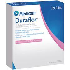 Duraflor® 5% Sodium Fluoride Varnish – Bubble Gum, White, 0.5 ml, 32 Units/Box, 6 Boxes/Case