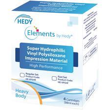 Matériau de prise d'empreintes au polysiloxane de vinyle Elements by Hedy® – Cartouche de 50ml, 4/emballage