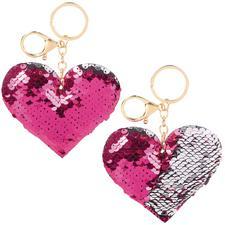 Flip Sequin Heart Keychain, 12/Pkg