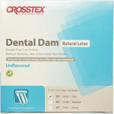 "Latex Dental Dam – Unflavored, Blue, 5"" x 5"", 52/Box"