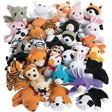 "Assorted Plush Mini Bean Bag Animals – 4"", 50/Pkg"