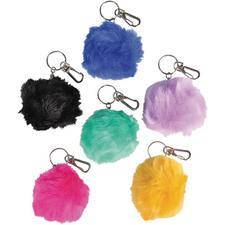 """Furry Pom Pom Clip-On Keychain, 3"""""""