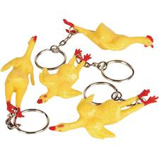 "Stretch Rubber Chicken Keychain – 3"", 12/Pkg"