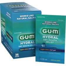 GUM® Hydral™ Dry Mouth Relief Night-Time Oral Gel – 0.08 oz Satchets, 36/Pkg