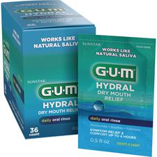 GUM® Hydral™ Dry Mouth Relief Daily Oral Rinse – 0.5 oz Satchets, 36/Pkg