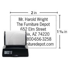 "Pre-Inked Stamp, Endorsement, Black Ink, Imprint Area: 2"" W x  1-3/16"" H"
