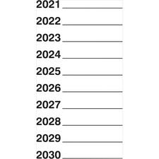 "10-Year Aging Label, 201– 2025, White, 1-1/2"" W × 3"" H, 500/Pkg"