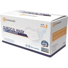 EcoGuard Surgical Earloop Face Mask – ASTM Level 3, One Size Fits All, 50/Pkg