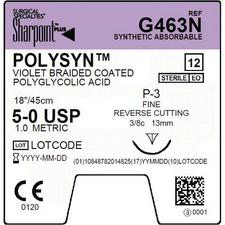 """Sharpoint™ PolySyn™ Undyed Braided Sutures Absorbable – Precision Reverse Cutting, DSM13, 3/8 Circle, 18"""", 4–0, 12/Pkg"""