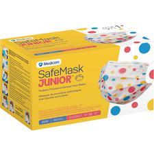 Masque pédiatrique à boucles auriculaires SafeMask® Premier –  ASTM niveau 1, à pois, 50/emballage