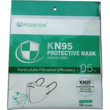 Masque respiratoire KN95 Powecom® contre les particules – Sans latex, blanc, 10/emballage