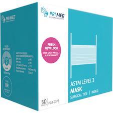 Masque chirurgical avec attaches Pri-Med® – ASTM niveau 3, sans latex, indigo, 50/emballage